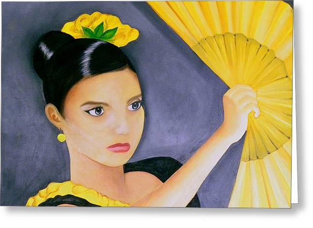 Creative People Greeting Cards - Flamenco Girl Greeting Card by Fanny Diaz