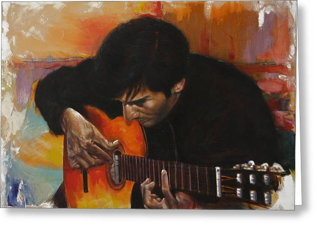 Flamenco Guitar Player Greeting Card by Harvie Brown