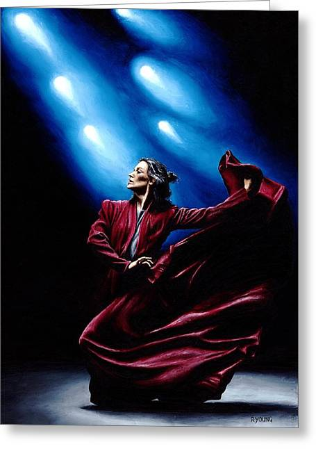 Purchase Art Greeting Cards - Flamenco Performance Greeting Card by Richard Young