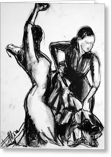 Flamenco Sketch 1 Greeting Card by Mona Edulesco