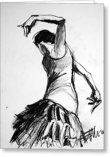 Outfit Drawings Greeting Cards - Flamenco Sketch 2 Greeting Card by Mona Edulesco