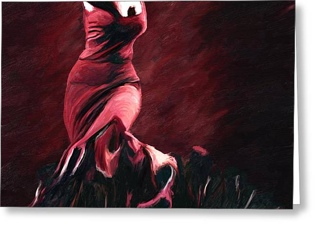 Flamenco Swirl Greeting Card by James Shepherd