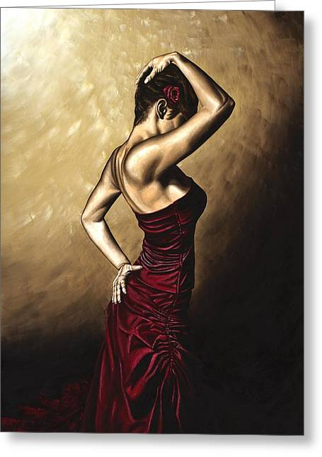 Flamenco Woman Greeting Card by Richard Young