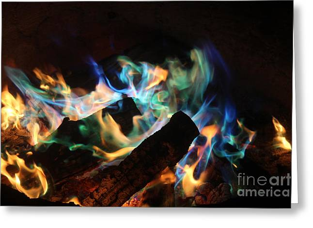 Firepit Greeting Cards - Flames Greeting Card by Jenny Revitz Soper