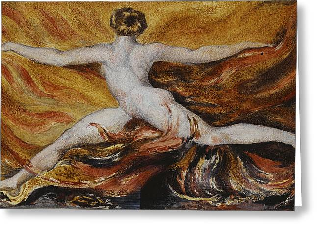 Sinners Greeting Cards - Flames of Furious Desires Greeting Card by William Blake