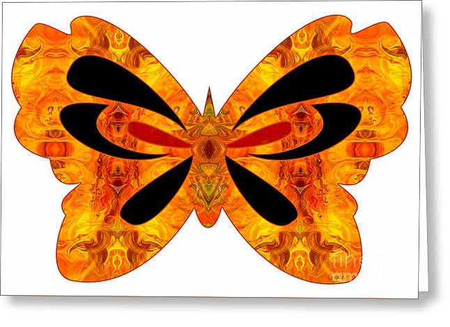 Green And Yellow Glass Greeting Cards - Flames Of Imagination And Abstract Butterflies by Omashte Greeting Card by Omaste Witkowski