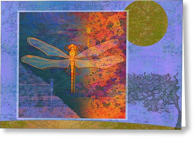 Creepy Digital Art Greeting Cards - Flaming Dragonfly Greeting Card by Mary Ogle