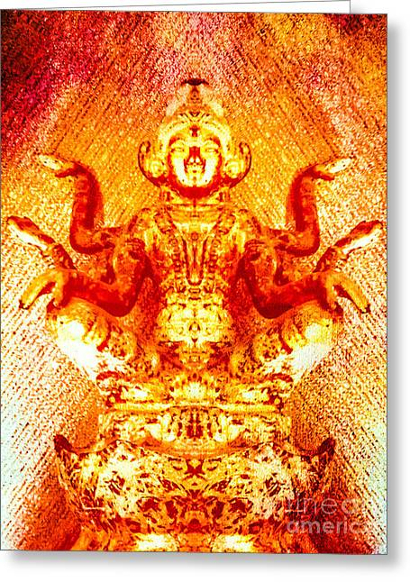 Hindu Goddess Digital Greeting Cards - Flaming Golden Goddess Greeting Card by Heather Joyce Morrill