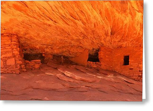 Southern Utah Greeting Cards - Flaming Ruins Panorama Greeting Card by Adam Jewell