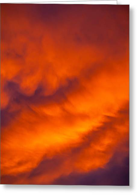 Sunlit Greeting Cards - Flaming Skies Greeting Card by Az Jackson