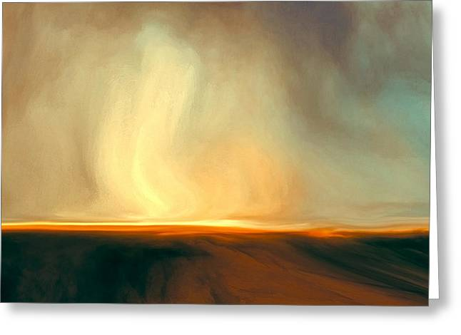 Resurrection Digital Greeting Cards - Flaming Sky Greeting Card by LC Bailey