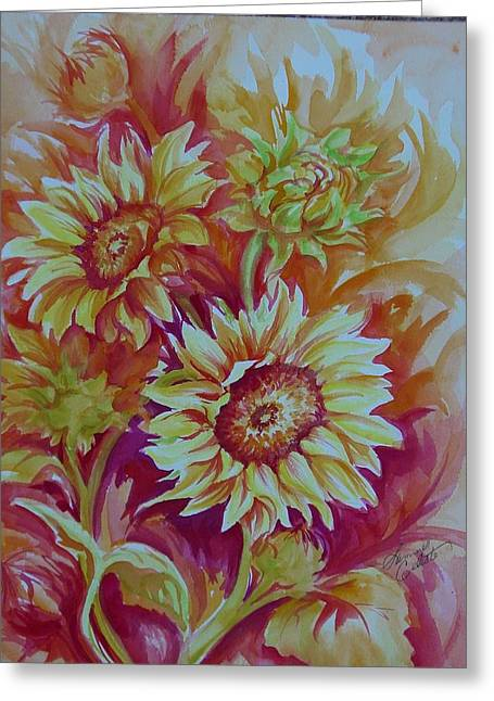Summer Celeste Greeting Cards - Flaming Sunflowers Greeting Card by Summer Celeste