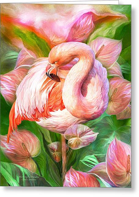 Pink Flower Prints Greeting Cards - Flamingo and Flowers - Blooming In Paradise Greeting Card by Carol Cavalaris