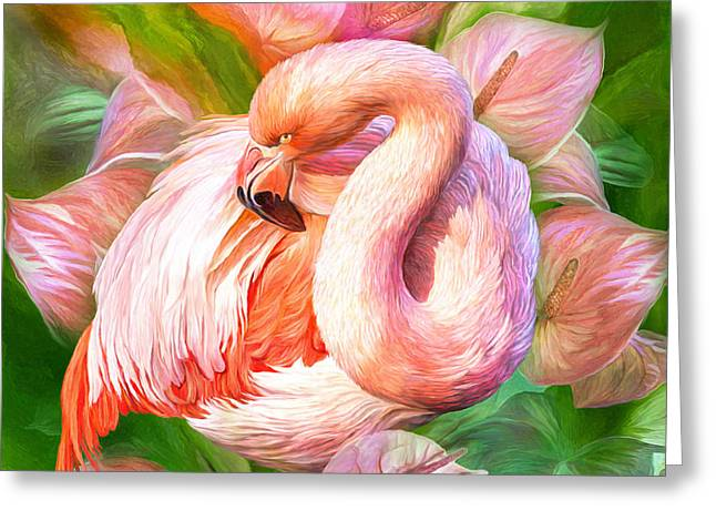 Flamingo Art Greeting Cards - Flamingo And Flowers -Blooming In Paradise SQ Greeting Card by Carol Cavalaris