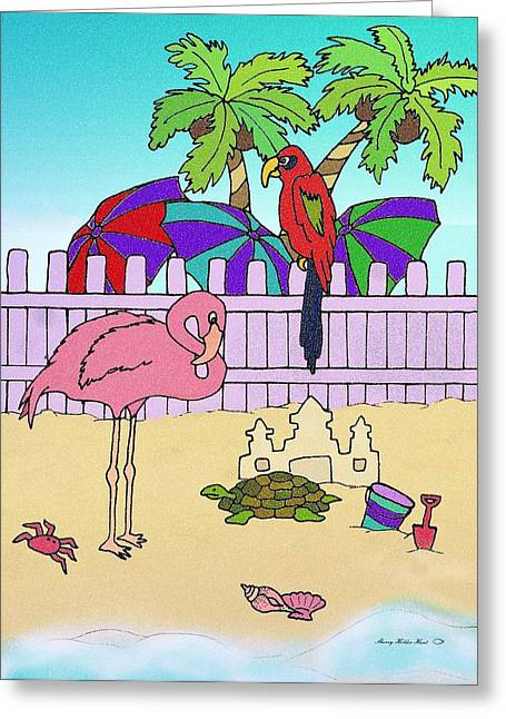 Flamingo Bay 5 Greeting Card by Sherry Holder Hunt