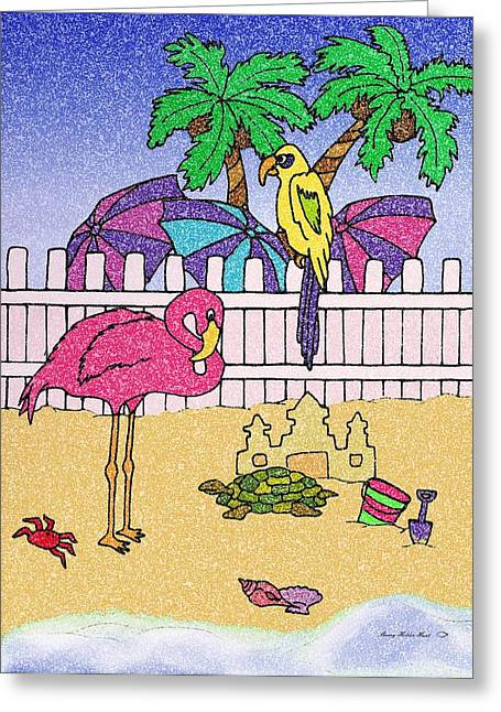 Sand Castles Mixed Media Greeting Cards - Flamingo Bay 6 Greeting Card by Sherry Holder Hunt