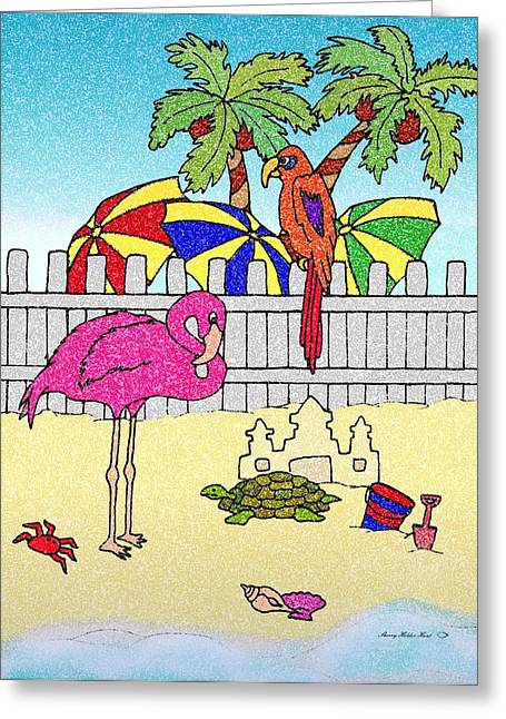 Sand Castles Mixed Media Greeting Cards - Flamingo Bay 8 Greeting Card by Sherry Holder Hunt