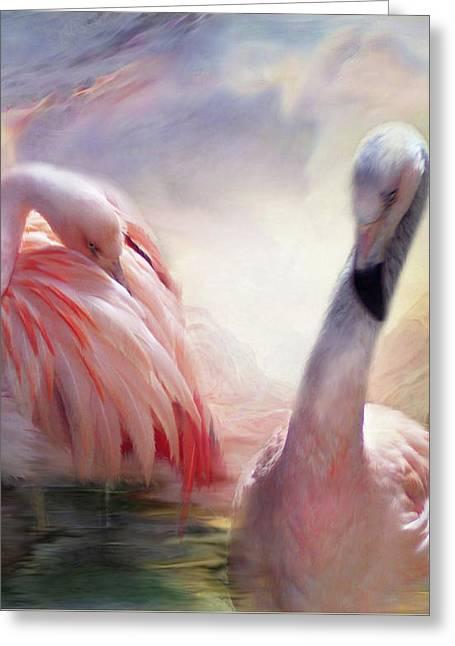 Flamingo Art Greeting Cards - Flamingo Dawn Greeting Card by Carol Cavalaris