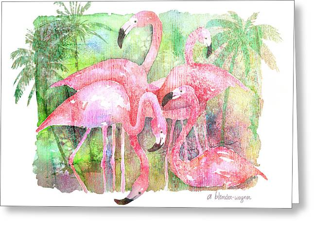 Flamingo Greeting Cards - Flamingo Five Greeting Card by Arline Wagner