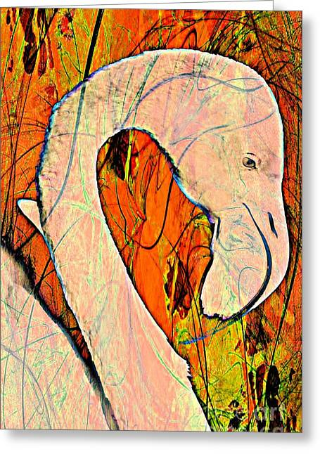 Great Birds Mixed Media Greeting Cards - Flamingo Fun Greeting Card by Clare Bevan
