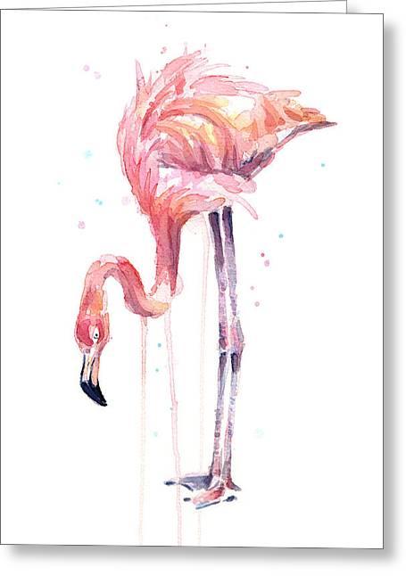 Flamingo Illustration Watercolor - Facing Left Greeting Card by Olga Shvartsur
