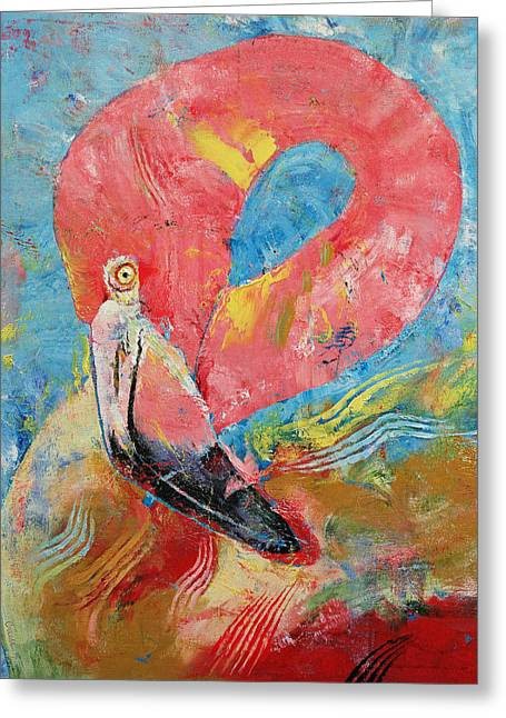 Tribal Paintings Greeting Cards - Flamingo Greeting Card by Michael Creese