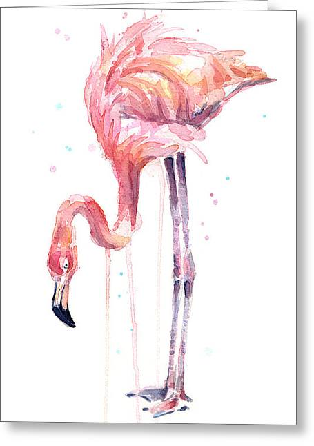 Flamingo Watercolor - Facing Left Greeting Card by Olga Shvartsur