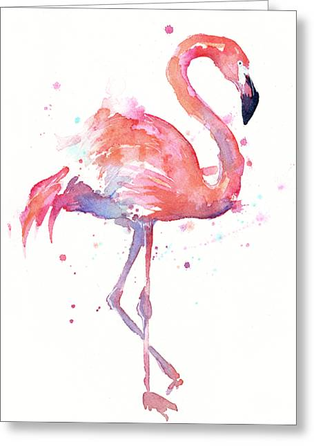 Flamingo Watercolor Facing Right Greeting Card by Olga Shvartsur