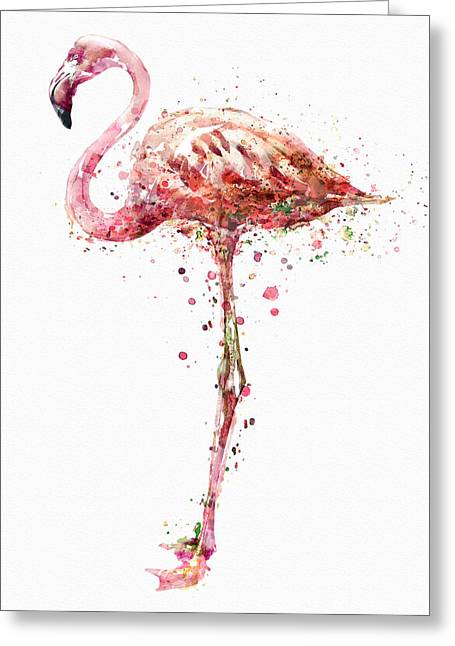 Flamingo Watercolor Painting Greeting Card by Marian Voicu