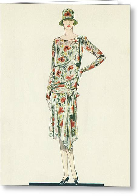 Flapper In An Afternoon Dress Greeting Card by American School
