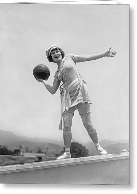 Basketballs Greeting Cards - Flapper Playing Basketball Greeting Card by Underwood Archives