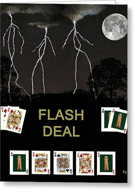 Flash Mixed Media Greeting Cards - Flash Deal  Poker Cards Greeting Card by Eric Kempson