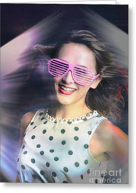 Flashback Of The Retro Hologram Girl Greeting Card by Jorgo Photography - Wall Art Gallery