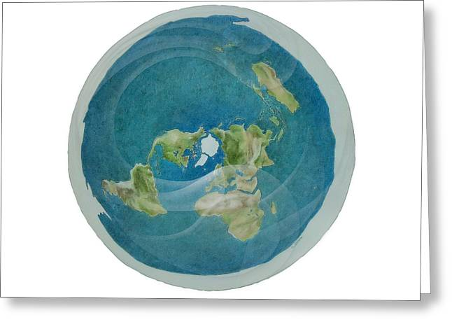 Bible Pastels Greeting Cards - Flat Earth Below the Firmament Greeting Card by Cati Simon