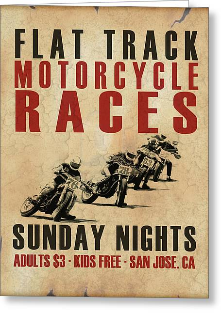 Flat Track Motorcycle Races Greeting Card by Mark Rogan