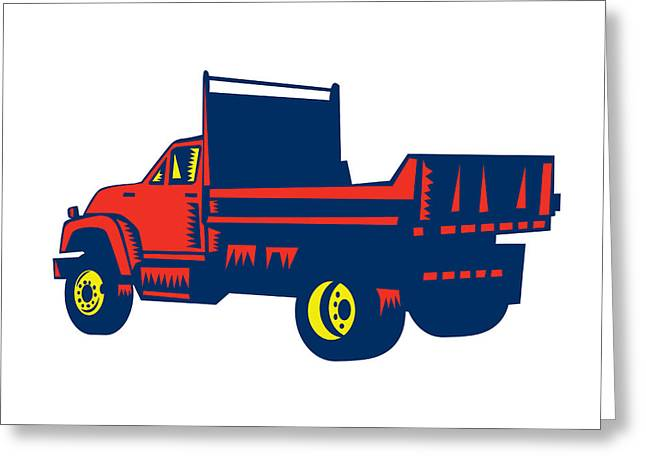 Flatbed Truck Woodcut Greeting Card by Aloysius Patrimonio