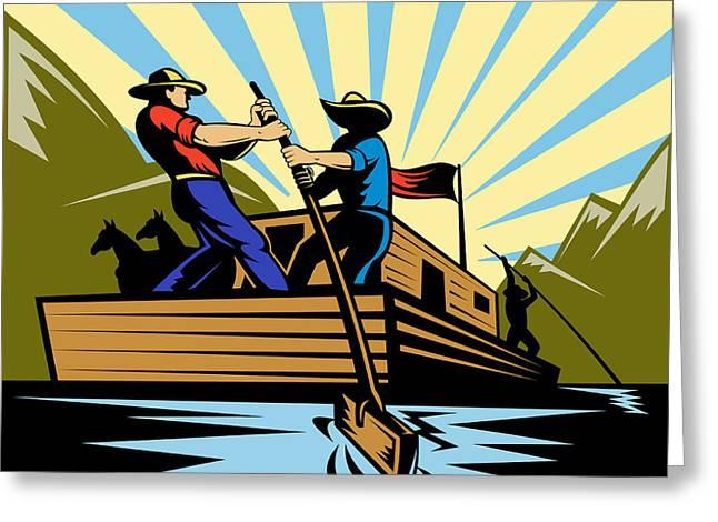 Rowing Digital Art Greeting Cards - Flatboat Along River Greeting Card by Aloysius Patrimonio