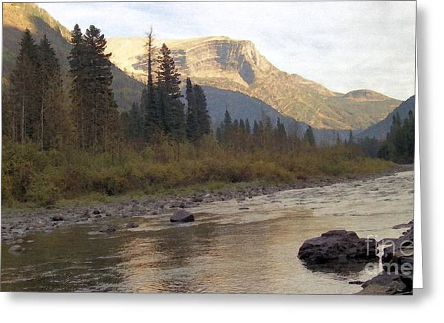 National Parks Mixed Media Greeting Cards - Flathead River Greeting Card by Richard Rizzo