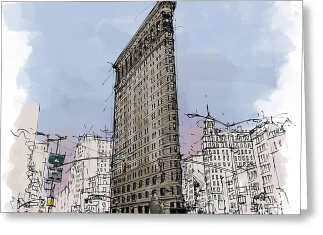 Flatiron Building, New York Sketch Greeting Card by Pablo Franchi