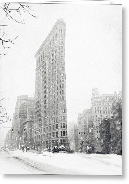 Flatiron Building Greeting Cards - Flatiron in Winter Greeting Card by Jessica Jenney