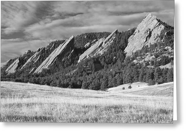 Colorado Nature Landscape Greeting Cards - Flatiron Morning Light Boulder Colorado BW Greeting Card by James BO  Insogna