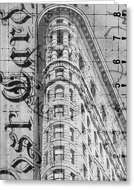 Gotham City Mixed Media Greeting Cards - Flatiron Vintage Postcard Greeting Card by Anahi DeCanio - ArtyZen Studios