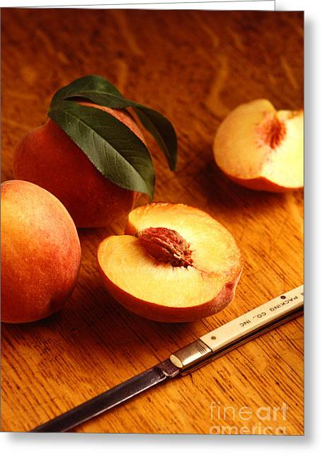 Peach Greeting Cards - Flavorcrest Peaches Greeting Card by Photo Researchers