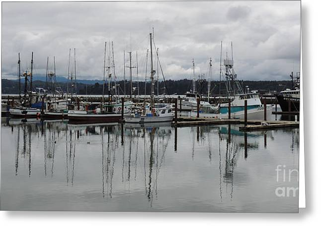 Boats At Dock Greeting Cards - Fleet at Rest Greeting Card by Don Edward Jones