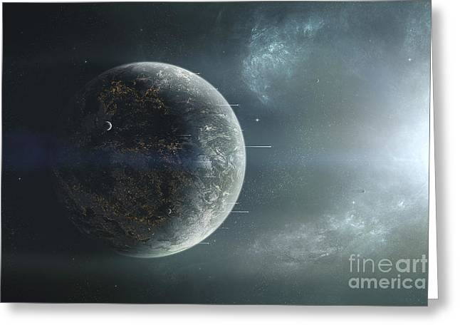 Interstellar Space Digital Art Greeting Cards - Fleet Of Colonization Ships Departing Greeting Card by Tomasz Dabrowski