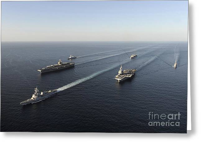 Strike Group Greeting Cards - Fleet Of Navy Ships Transit The Arabian Greeting Card by Stocktrek Images