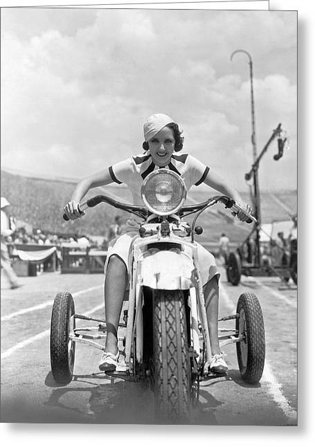 California Girl Greeting Cards - Fleming Rides Three Wheeler Greeting Card by Underwood Archives