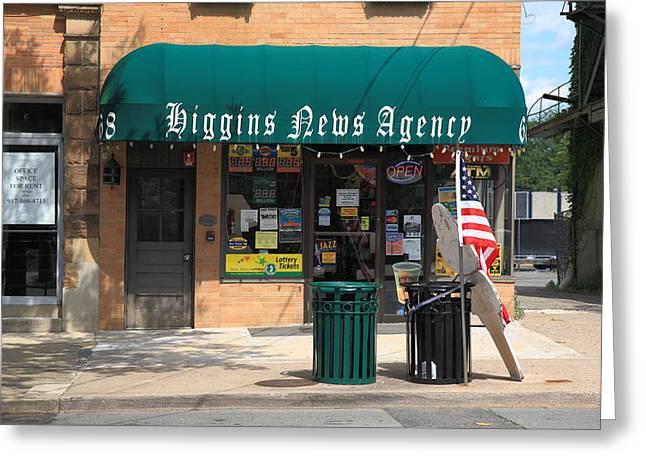 Main Street Corners Greeting Cards - Flemington NJ - News Shop Greeting Card by Frank Romeo