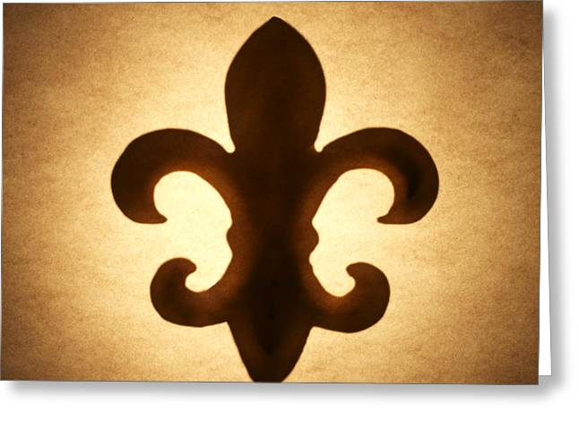 Silhouettes Greeting Cards - Fleur-de-lis Greeting Card by Tony Cordoza
