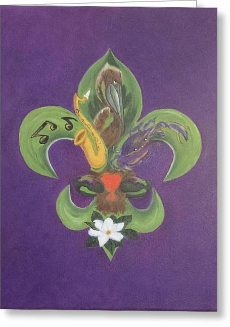 Greeting Cards - Fleur de Lis Purple Green and Gold Greeting Card by Judy Jones